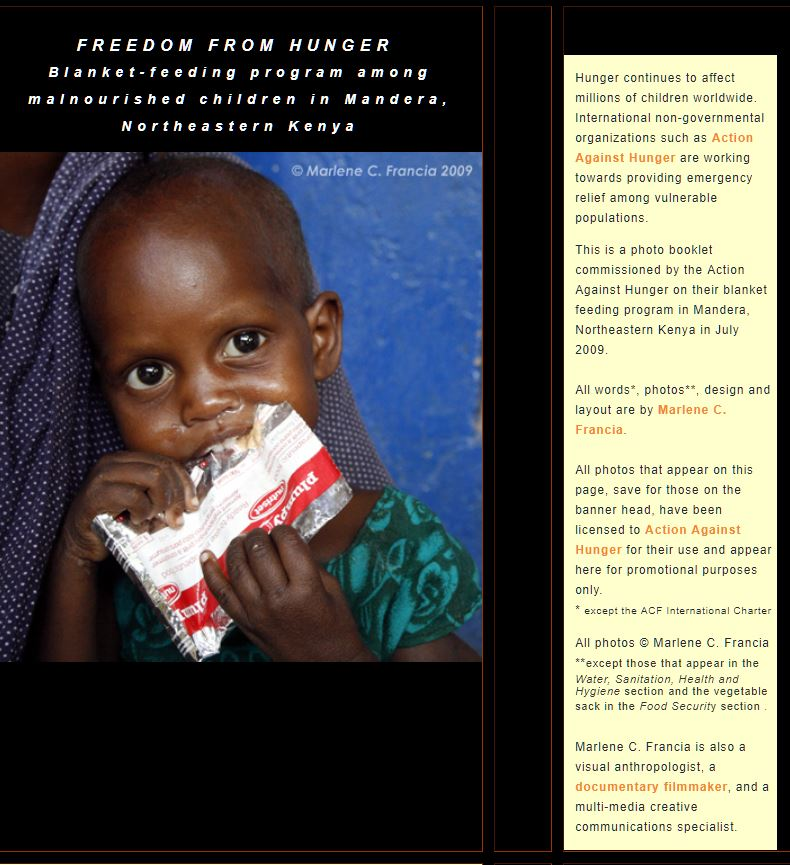 "Screenshot of cover page of the ""Freedom from Hunger"" photo booklet commissioned by Action Against Hunger - USA on their blanket feeding program in Mandera, Kenya"